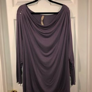 Scoop neck Tunic with rhinestones on shoulders